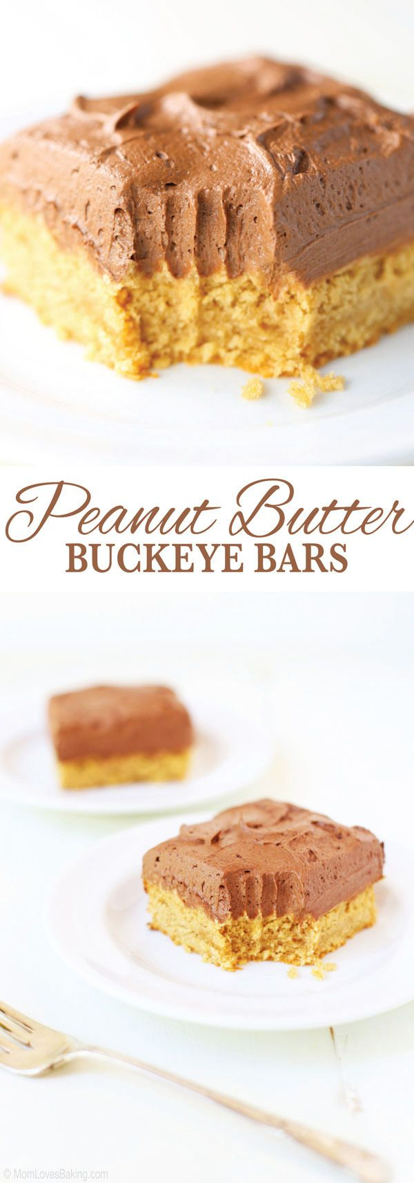 These Peanut Butter Buckeye Bars are like biting into a buckeye candy spread over a peanut butter cookie bar. So good! Find the recipe on http://MomLovesBaking.com