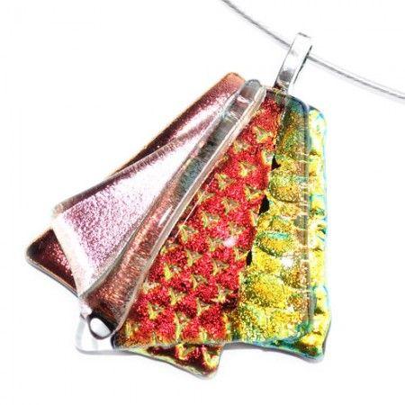 Handgemaakte glazen hanger van koper, rood en geel-groen glas.