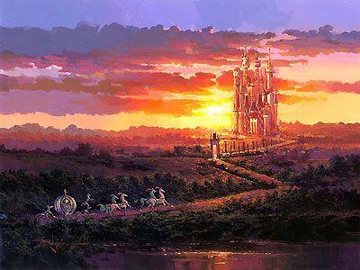 Cinderella - Castle at Sunset - Rodel Gonzalez - World-Wide-Art.com - $595.00 #Disney #RodelGonzalez