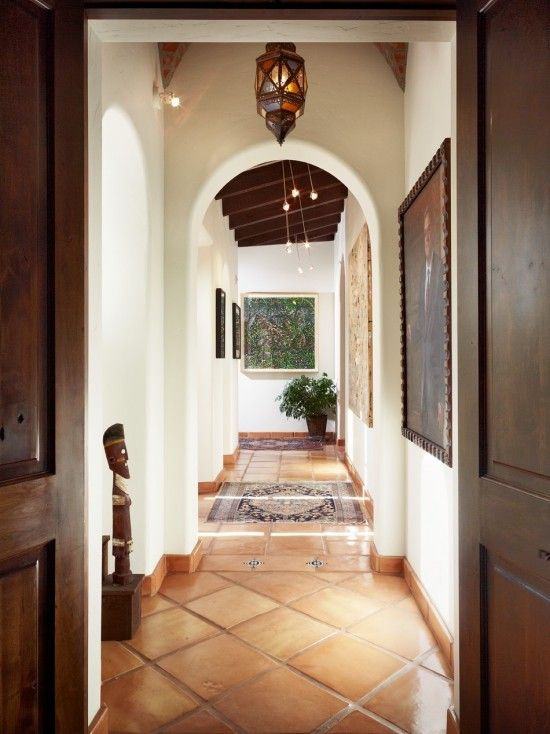 Terra Cotta Floor - white walls, dark wood trim---- there's something about spanish-style that i am obsessed with!