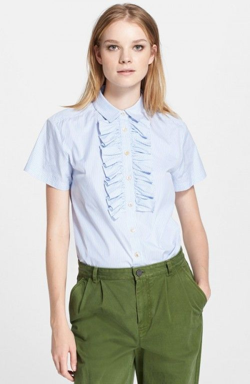 Marc Jacobs Women 39 S Marc Stripe Ruffle Short Sleeve Shirt