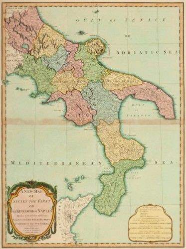 BAKER, B. A New Map of Sicily the First or the Kingdom of Naples. #italy #map #handcolour