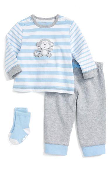 Little Me Monkey T-Shirt, Jogger Pants & Socks Set (Baby Boys) available at #Nordstrom