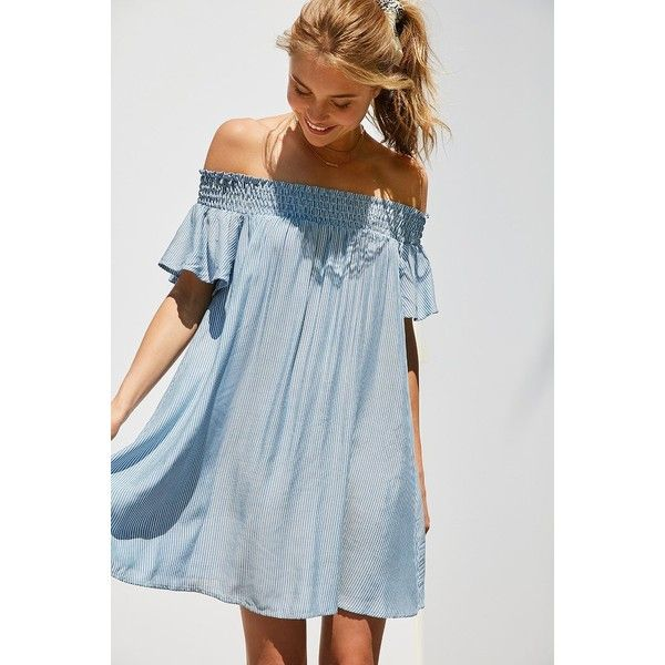 Cooperative Striped Off-The-Shoulder Flutter Sleeve Dress (918.390 IDR) ❤ liked on Polyvore featuring dresses, striped dresses, loose dress, loose fitting dresses, ruched dress and short blue dress