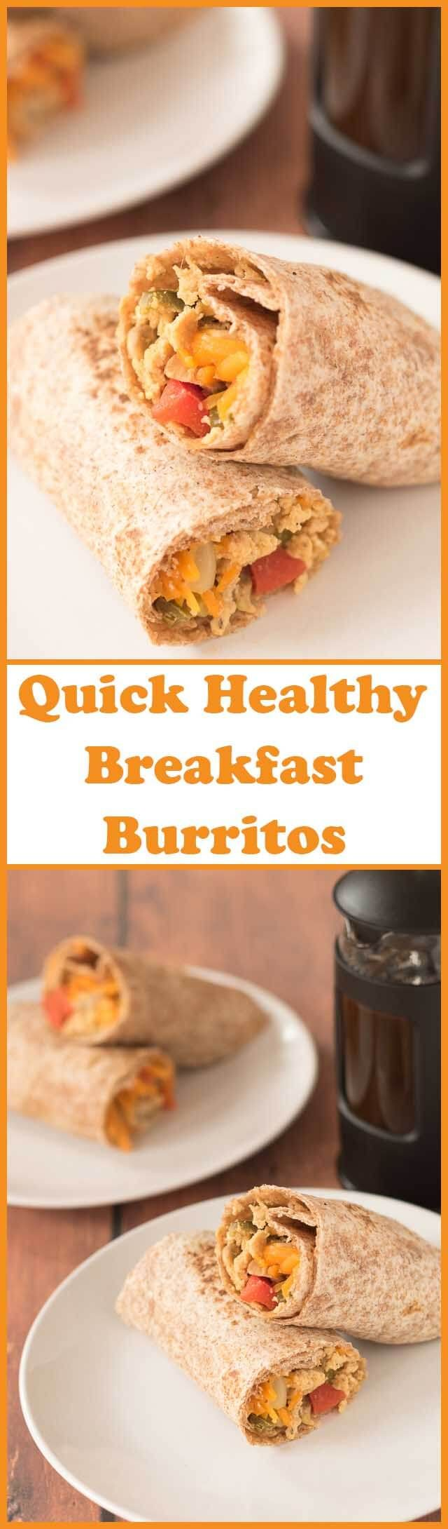 Quick healthy breakfast burritos are the perfect start to the weekend. Made in one pan this delicious filling combination of vegetables, eggs and cheese takes hardly any time at all to make allowing you to get on and enjoy your weekend!