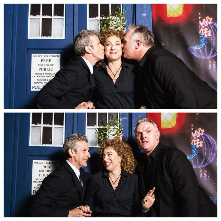 Alex Kingston, Peter Capaldi, & Greg Davies from today's #DoctorWho Christmas special screening in London for 'The Husbands of River Song'