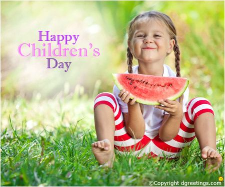 This cute little girl wishes you a 'Happy Children's Day'!