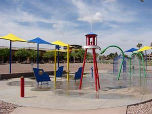 When my kids were younger, this was their favorite way to cool off in the scorching desert summer.  It is located in Fountain Park in Fountain Hills, AZ.