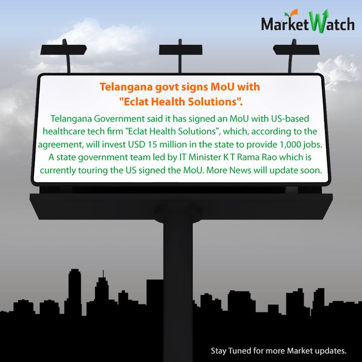 "‪#‎MarketWatch‬ Telangana govt signs MoU with ""Eclat Health Solutions"". Telangana government said it has signed an MoU with US-based healthcare tech firm Eclat Health Solutions, which, according to the agreement, will invest USD 15 million in the state to provide 1,000 jobs. A state government team led by IT Minister K T Rama Rao which is currently touring the US signed the MoU. More News will update soon..."