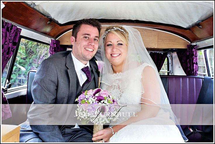 Bride & groom in camper van at their wedding at The Barn Brasserie Wedding Photography. Photography by www.JeffTurnbull.co.uk