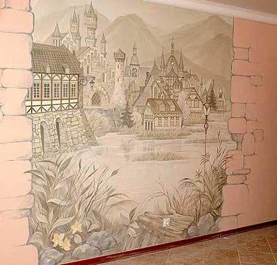 Роспись стен акриловыми красками своими руками, в интерьере детской комнаты, на кухне в виде сакуры и ветки дерева. | Этапы работ | Стены | Дом | АССбуд — строительный портал