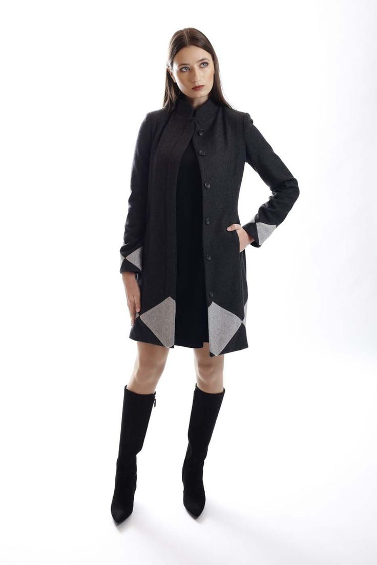 Two-color wool-blend coat