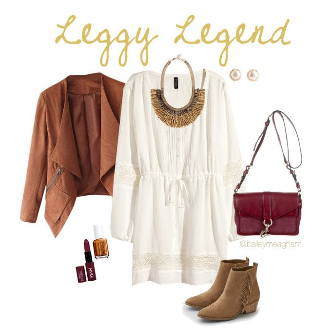 """""""Essie Inspired: Leggy Legend"""" by baileymeaghanf on Polyvore featuring H&M, American Eagle Outfitters, Essie, NYX, Rebecca Minkoff and Stella & Dot"""