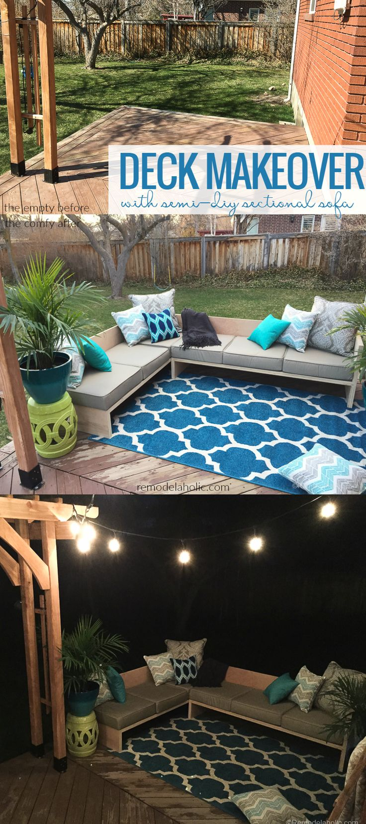Diy outdoor furniture cushions - Deck Makeover With Diy Outdoor Sectional Sofa Using Cushions From The Better Homes And Gardens Line
