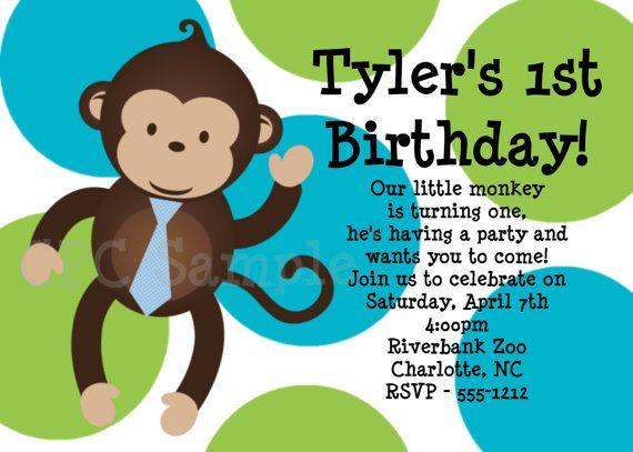 Boy Mod Monkey Birthday Invitation Boy Mod by CutiesTieDyeBoutique, $15.00
