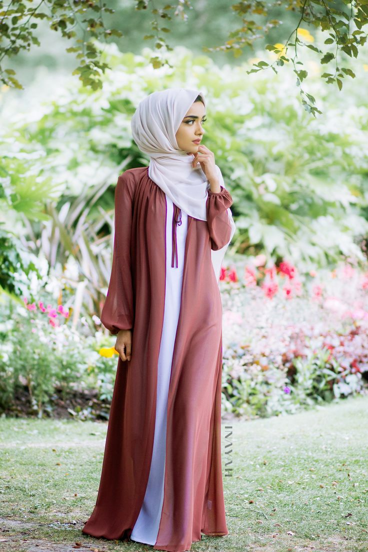 INAYAH | Rust Tie Neck #Kimono + Maxi White Cotton Slip #Dress + Oatmeal Soft Crepe #Hijab - www.inayah.co