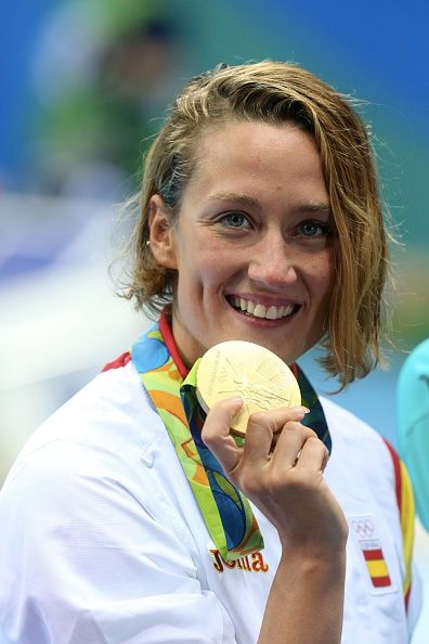 #RIO2016 Mireia Belmonte Garcia of Spain celebrates his gold medal after the final women's 200m butterfly at Olympic Aquatics Stadium on August 10 2016 in Rio...