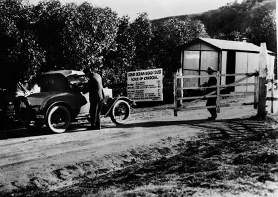 1921 Toll Gate on the Great Ocean Road. VicRoads Centenary 1913-2013.