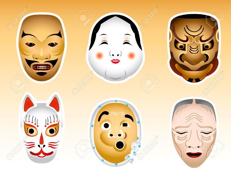 3150348-Japonais-traditionnel-Noh-et-Kyogen-masques-de-th-tre--Banque-d'images.jpg (1300×1040)