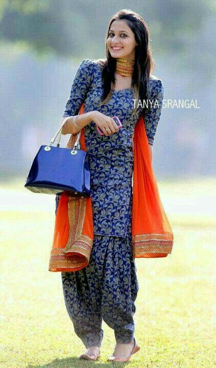 Blue Patiyala suit with orange dupatta