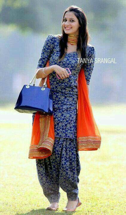 Blue Patiyala suit with orange dupatta