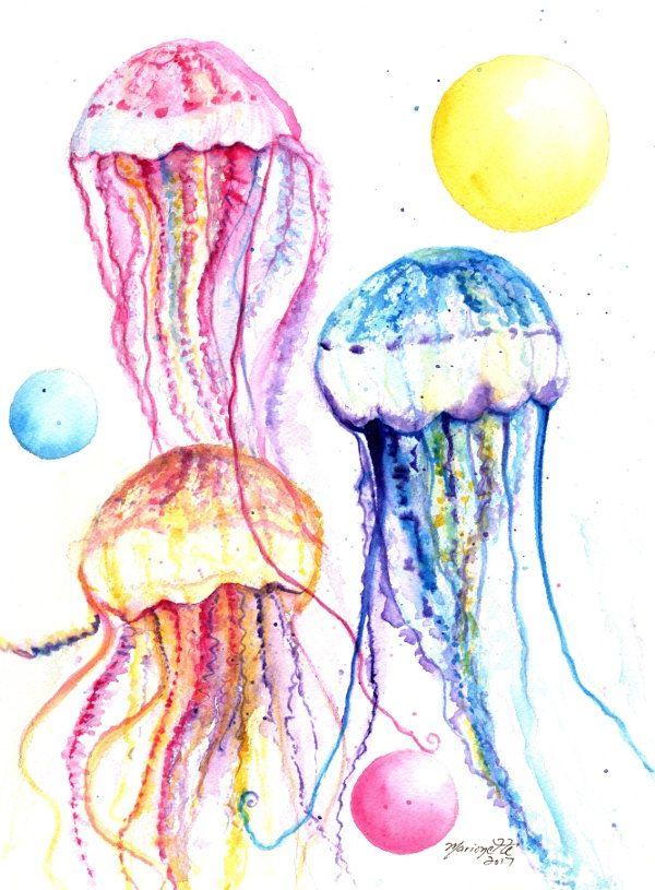 Beautiful and Original Jellyfish Artwork in Cardboard Mount