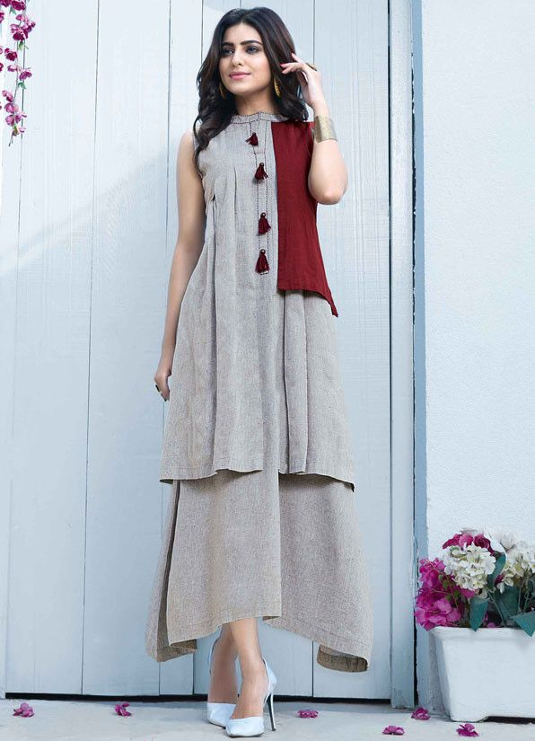 Plush Pearl Grey and Maroon Kurti