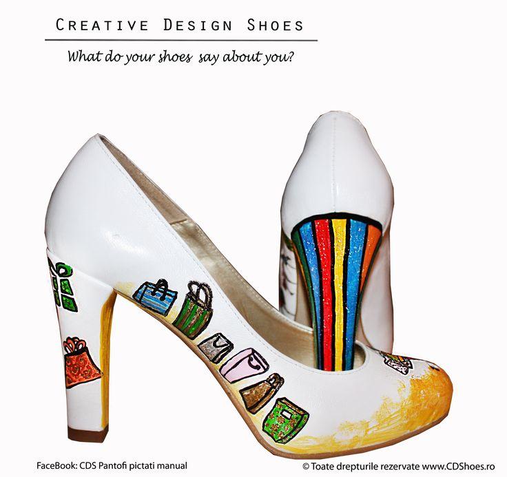 Shopping Addiction - Pantofi pictați manual