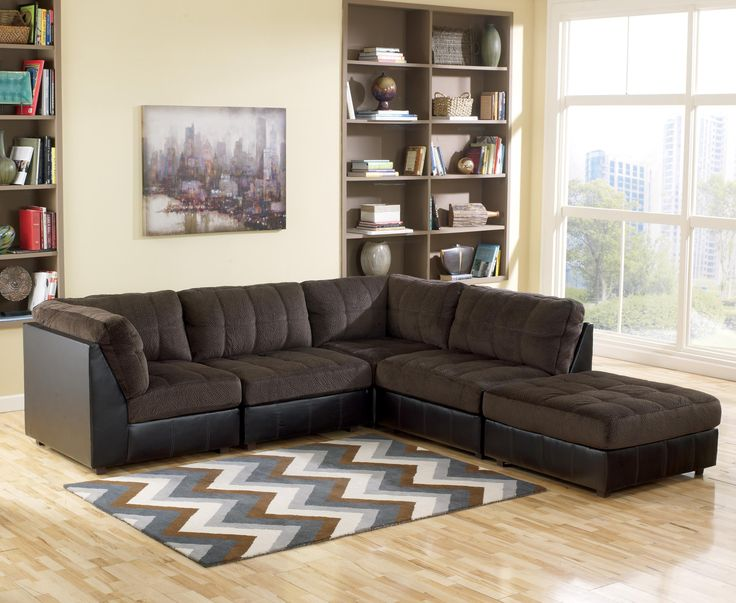Hobokin Chocolate Contemporary 5 Piece Sectional Modular Sectional Sofa Apartment Furniture Living Room Sets