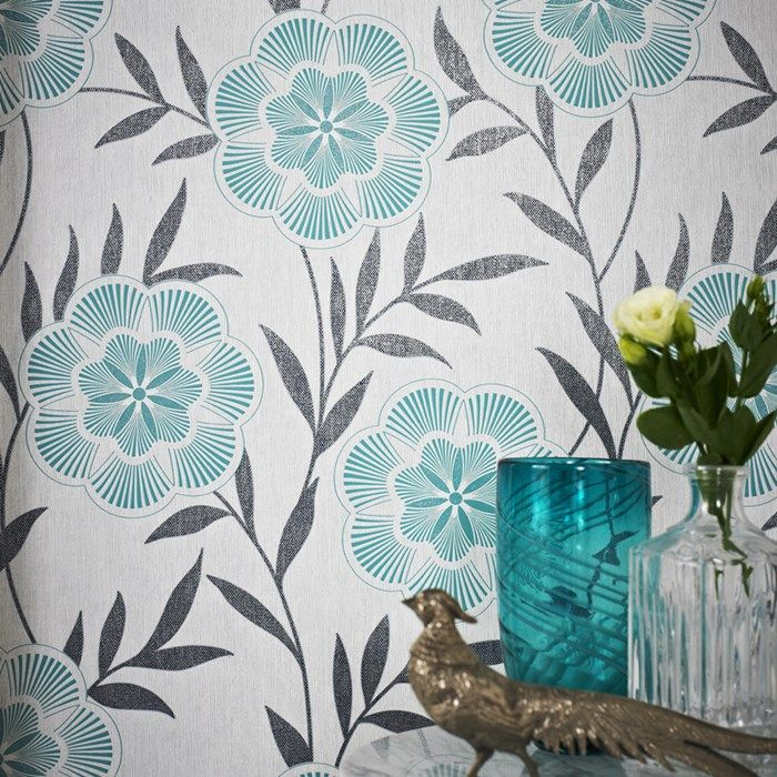 Flora Teal Floral Wallpaper - Blue Flower Wall Coverings by Graham Brown