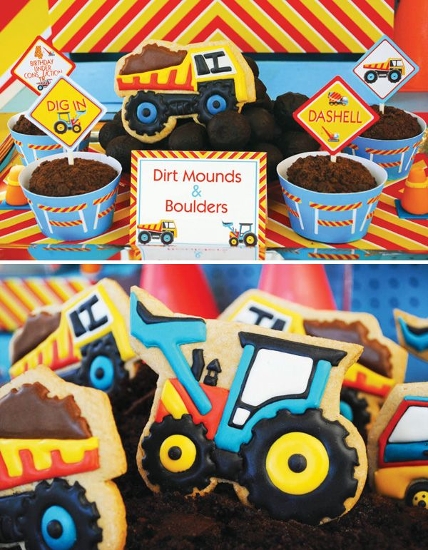 Construction theme party food kids sweets cookies boys trucks birthday party ideas theme