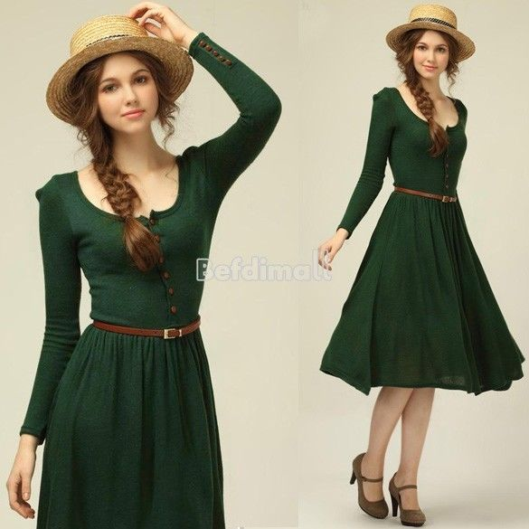 Vintage Women Knit Long Sleeve Button Pleated Dress Skirt With Belt M L XL