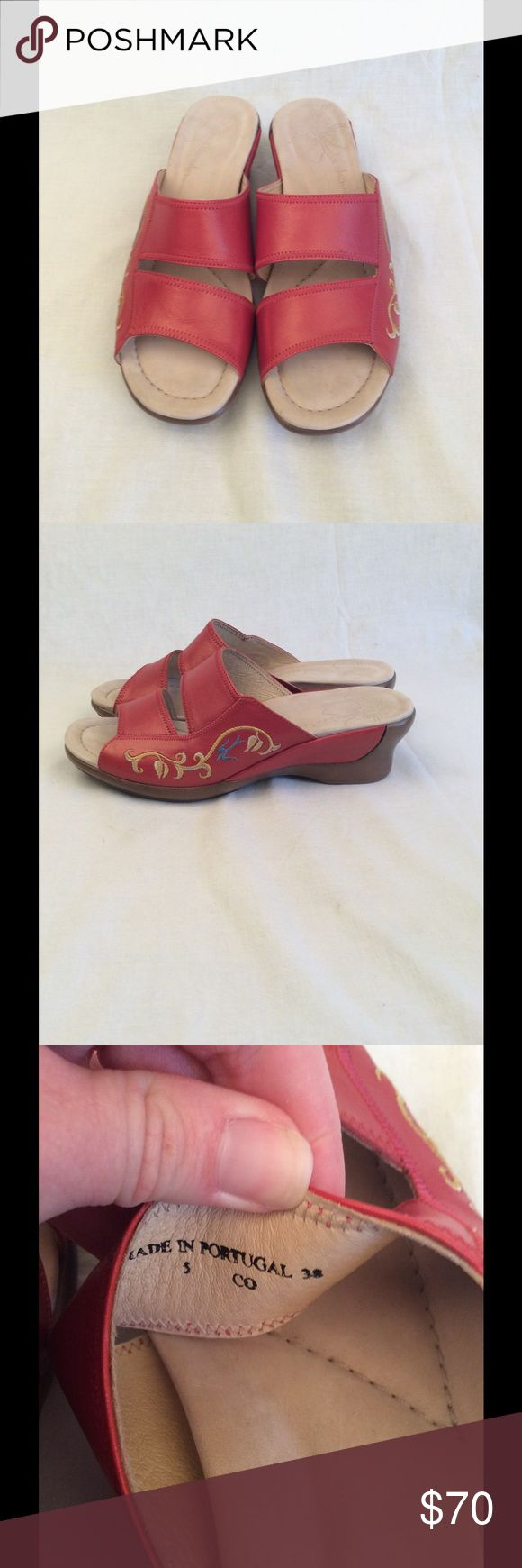 "SALEDanskos New size 38 no box dansko sandals. Red upper leather, cushiony inside sole. Has cute design on outside of both shoes on the side. Comes from a smoke free home. Slip on sandals with small 1.5"" heel to them. #danskos #redleather Dansko Shoes Sandals"