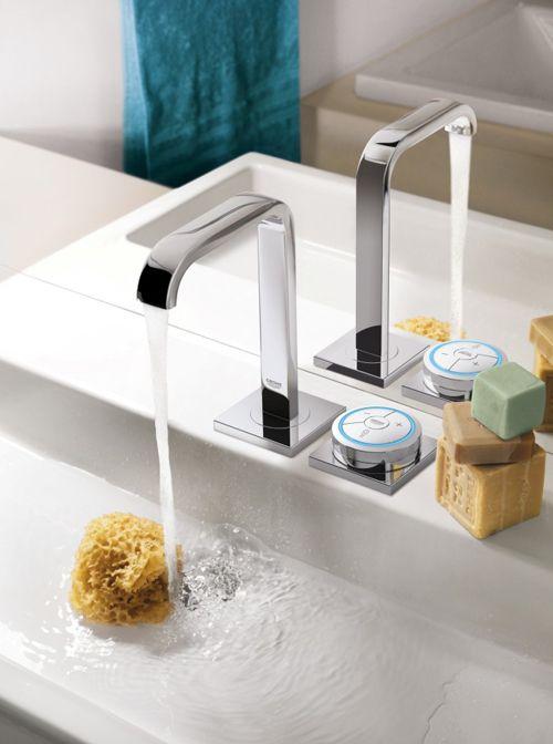 Электронный вентиль GROHE   Компания #GROHE презентовала систему подачи воды, представляющую собой электронный вентиль. На его поверхности нанесены специальные засечки, поэтому пользоваться им удобно даже тогда, когда руки скользкие и в мыльной пене.   Вода включается легким прикосновением, а поток регулируется поворотом светящегося кольца, при этом комфортный режим водоподачи умная система запоминает сама.
