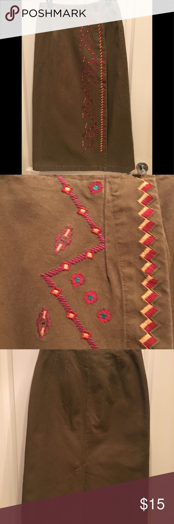 Selling this Ankle Length Wrap Around Denim Skirt w/ Embroidery on Poshmark! My username is: windycreek. #shopmycloset #poshmark #fashion #shopping #style #forsale #Ruff Hewn #Dresses & Skirts