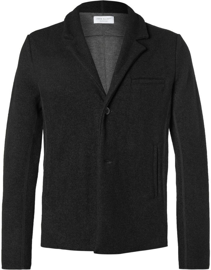John Elliott Black Richmond Slim-Fit Unstructured Wool-Blend Blazer