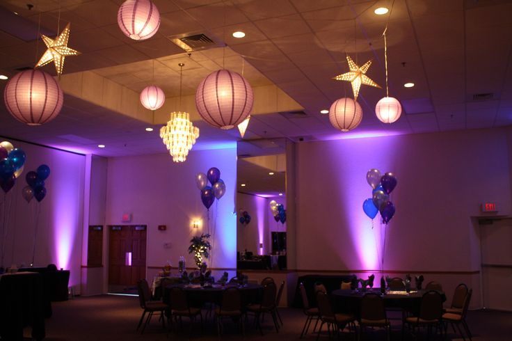 moon and stars over the dance floor in blue and purple was the theme for this sweet sixteen. Black Bedroom Furniture Sets. Home Design Ideas