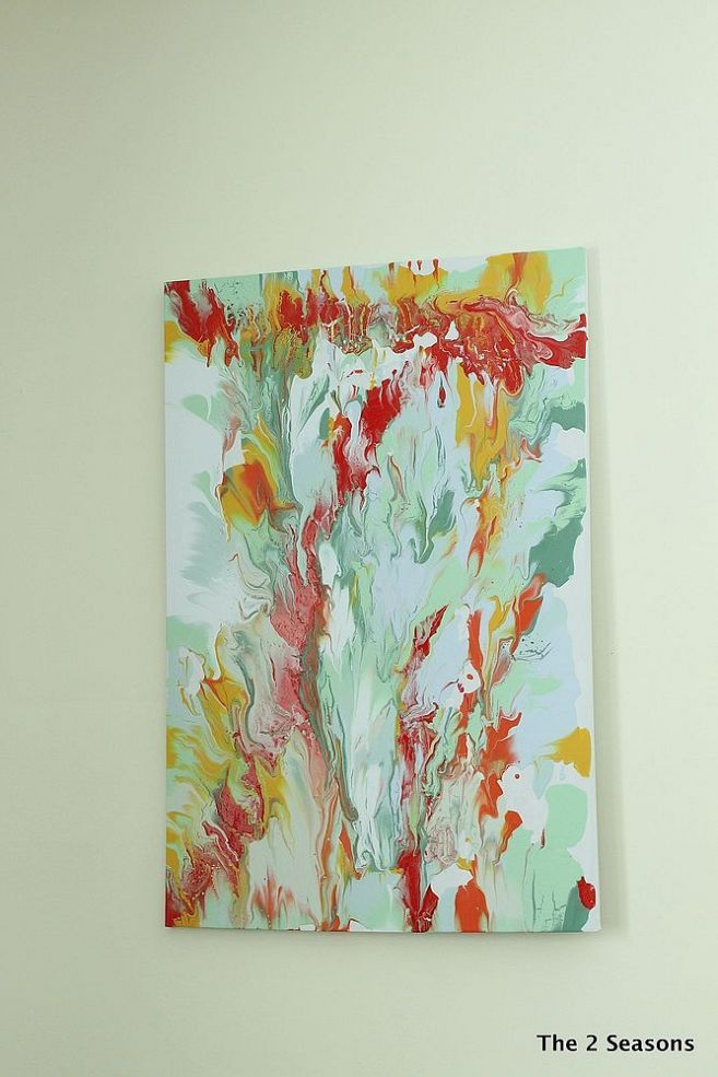 Create modern art for your walls using leftover house paint.