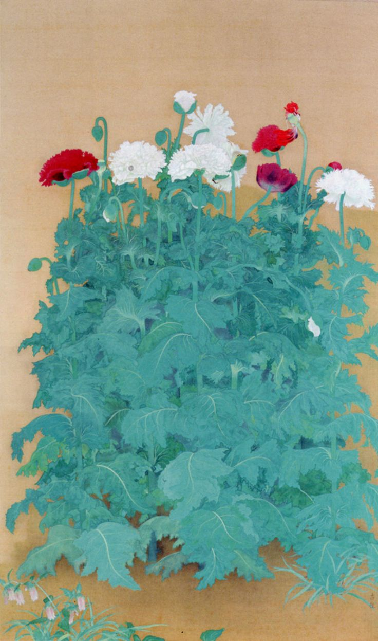 Kobayashi Kokei (1883-1957), Poppies, Color on silk (1921)
