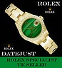 VERY RARE & stunning 18ct Gold MALACHITE dial - diamond ladies Rolex Datejust - www.itemsofbeauty.co.uk - Rolex watches, Rolex watches for sale, wanted and exchanged.