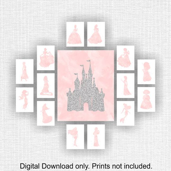 Disney Wall Art Castle Silver glitter and by myfavoritedecor