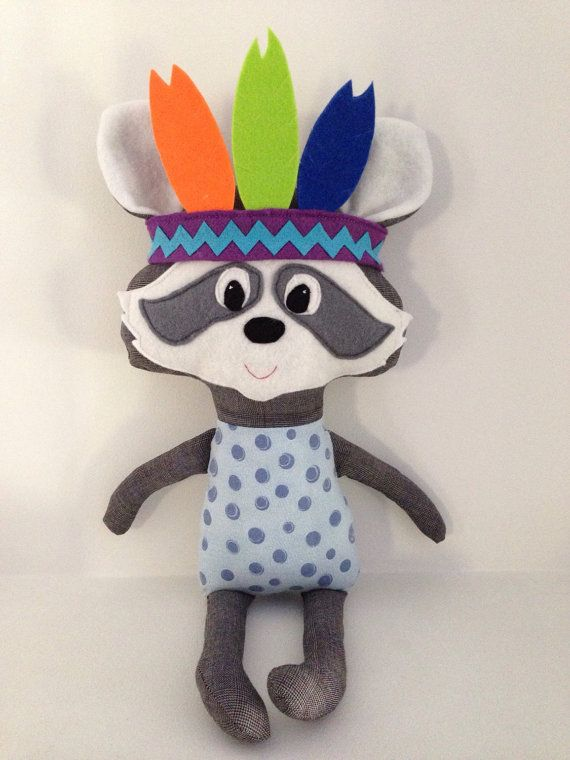 Tribal Indian Raccoon Soft Toy / Plush Toy by LaLaLaDesigns