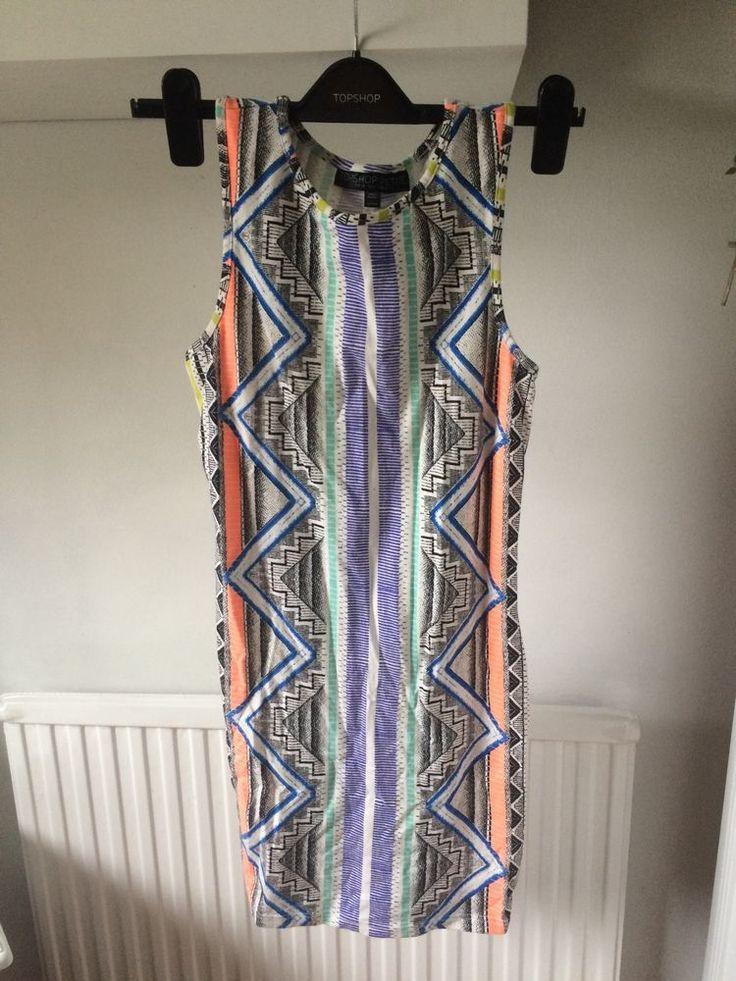 Topshop Aztec Bodycon Dress Petite Size 10- Would Fit 8