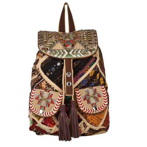 Aida-A Beaded Slouchy Patchwork Backpack