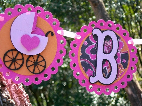 Baby Carriage Paper Banner Baby Girl via Etsy.
