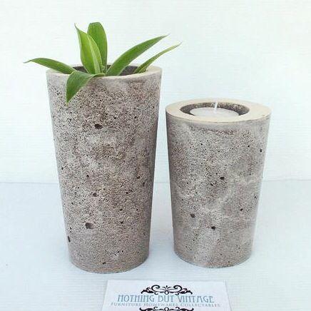 Urban Decor concrete succulent planters & tealight candle holders available at www.nothingbutvintage.com.au