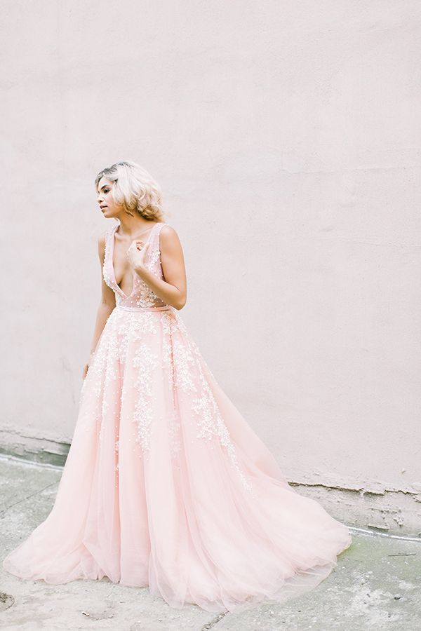 Blush bridal gown with beadwork | Photo by Alea Lovely