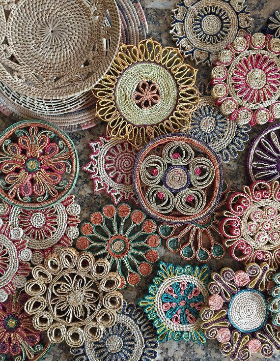 vintage boho woven trivets / straw raffia flower by simplychi