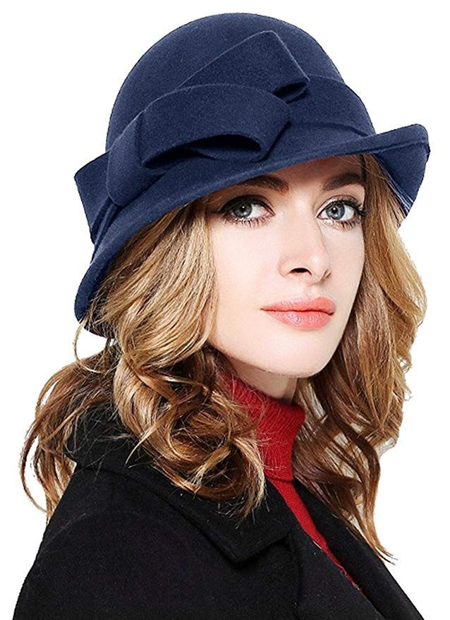 864e18599a6a6  23.99 Bellady Women Solid Color Winter Hat 100% Wool Cloche Bucket with  Bow Accent