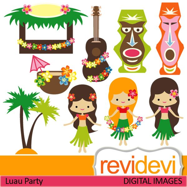 Luau party cliparts. Cute hawaiian girls, plumeria, tiki bar, banjo, coconut tree. These digital images are great for any craft and creative projects